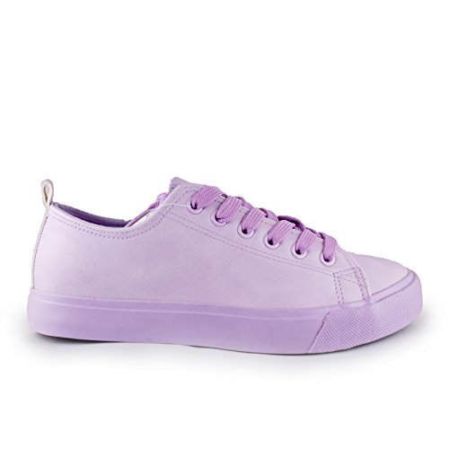 Lilac Monochromatic Sneakers Comfortable Leather Colored Toe Low Fashion Vegan Stylish Shoes Round Top up Lace cR61wFBq