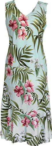 RJC Women's Breathtaking Island Getaway Tea Length Sleeveless Hawaiian Dress Aqua (Aqua Hawaiian Print)