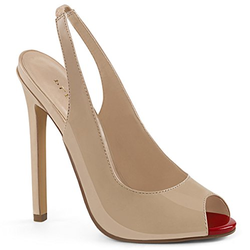 Pleaser Sexy08/B, Women's Sling Back Pumps Nude Pat