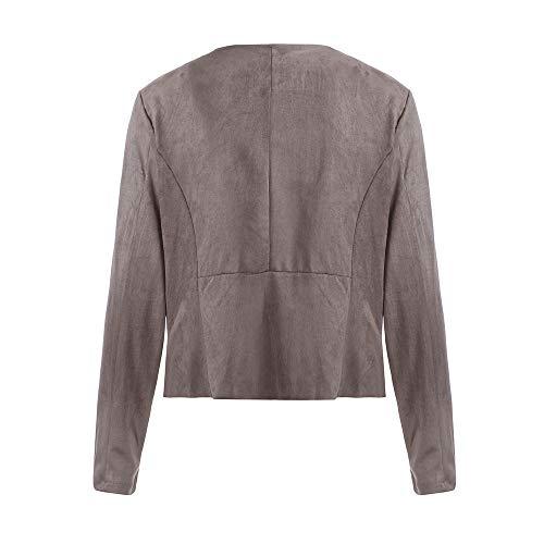 Kaki Unie Travail Femme Manches Manteau Veste Couleur Bringbring Court Blazer Longues de Costume Cardigan XfgfOTa