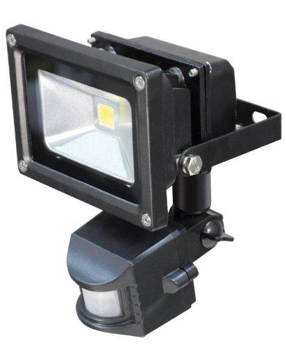 LED Energiesparlampe Flutlicht Strahler außen mit PIR Bewegungsmelder, Schwarzer Aluminiumkörper, IP54 Rated