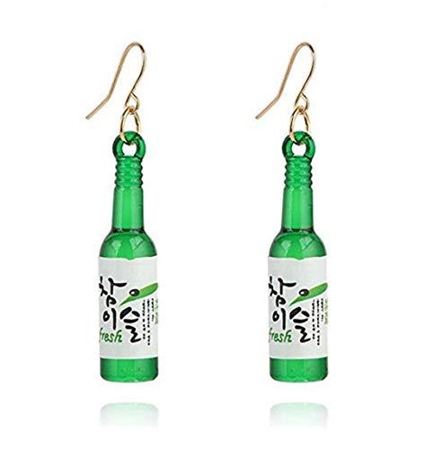 LOSOUL Women Girls Cute Beer Bottle Soju Pub Party Unique Bottle Dangle Earrings,Green