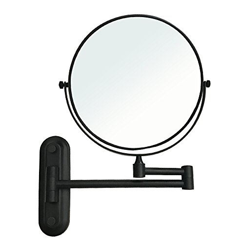 Gecious Wall Mount Vanity Makeup Magnifying Mirror,Black,1x/10x magnification,360°Swivel 12