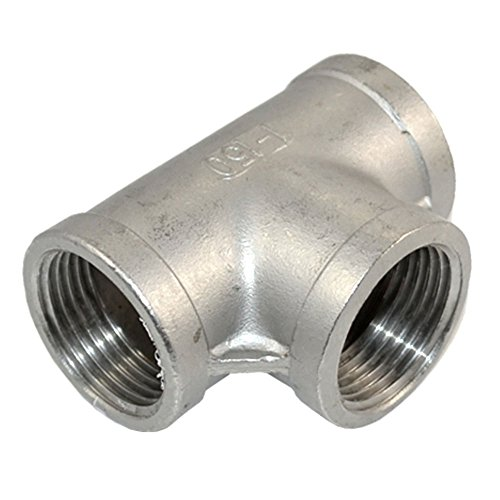 Megairon Stainless Steel 304 NPT Female Thread Pipe Fitting Adapter,1 3 Way T Shaped Equal Tee Connector Coupling