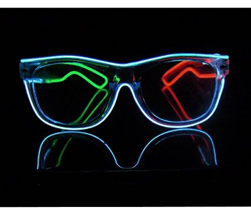 Light up El Wire Rave Glasses Glow Wayfarer Flashing LED Sunglasses Costumes For Party, EDM, Christmas