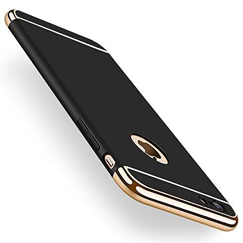 感じ市民細いKYOKA iphone6ケース iphone6s ケース メッキ加工 軽量 衝撃防止 3パーツ式 アイフォン6ケース おしゃれ 高級感 薄型 携帯カバー (iPhone6/6s, ブラック)