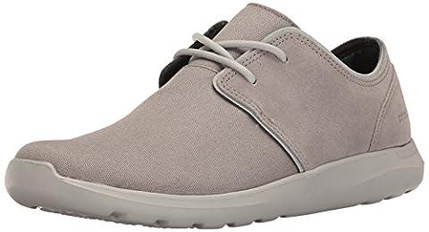 crocs Men's Kinsale 2-Eye Shoe M Fashion Sneaker, Charcoal/Pearl White, 8 M US - 2 Leather Casual Shoe