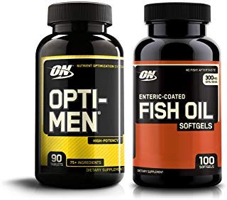 OPTIMUM NUTRITION Opti-Men High Potency Multi-Vitamin 90 Count + Fish Oil 100 Count Soft gels