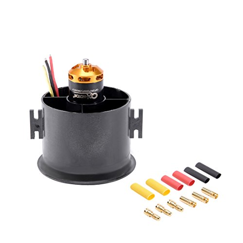 Ducted Fan Aircraft - uxcell 70mm 6 Blades EDF Ducted Fan Set Jet Engine with 3800KV RC Brushless Motor for RC Airplane