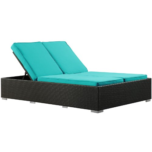 Modway Evince Two-Seater Outdoor Wicker Patio Chaise Recliner in Espresso with Turquoise Cushions