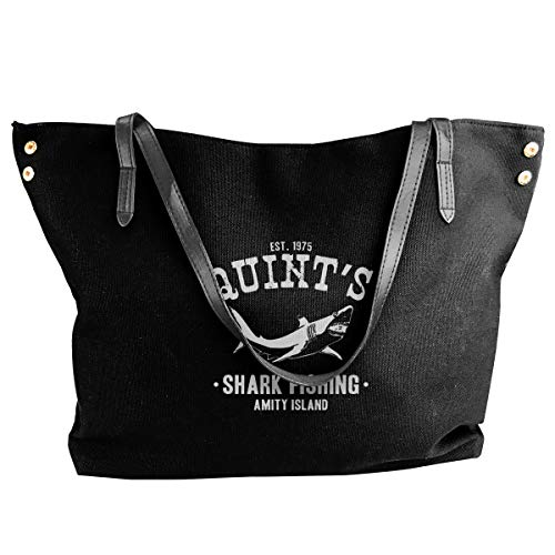 (SYAyeah Quints Shark Fishing Women Black Canvas Tote Shoulder Bag Top Handle Satchel Handbags)