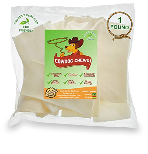 - Cowdog Chews️ Natural Rawhide Chips - Premium Long-Lasting Dog Treats with Thick Cut Beef Hides, Processed Without Additives or Chemicals (1 Pound)