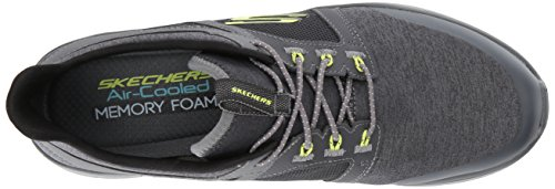 Mens Skechers Sinergici 2.0 Chekwa Moda Sneaker Carbone / Lime