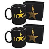 2 Pack 10oz Hamilton Coffee Mugs Black Ceramic Broadway Musical Merchandise Set Cup