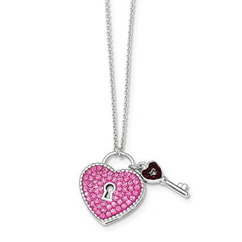 Crystal Sterling Silver Keychain (ICE CARATS 925 Sterling Silver Crystal Pink Heart Key Chain Necklace S/love Fine Jewelry Ideal Gifts For Women Gift Set From Heart)