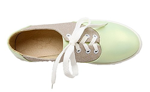 AmoonyFashion Womens Round-Toe Lace-Up PU Assorted Color Low-Heels Pumps-Shoes Green suK1v