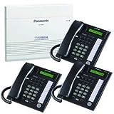 Panasonic KX-TA824 Telephone System & 3 KX-T7731 Black Telephones