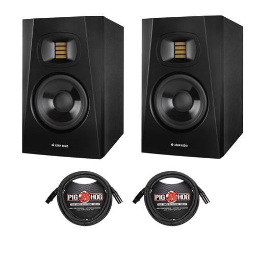 Adam Audio 2 Pack Professional T-Series T5V 5'' 70W 2-Way Active Nearfield Monitor, Single - With 2 Pack 15' 8mm XLR Microphone Cable
