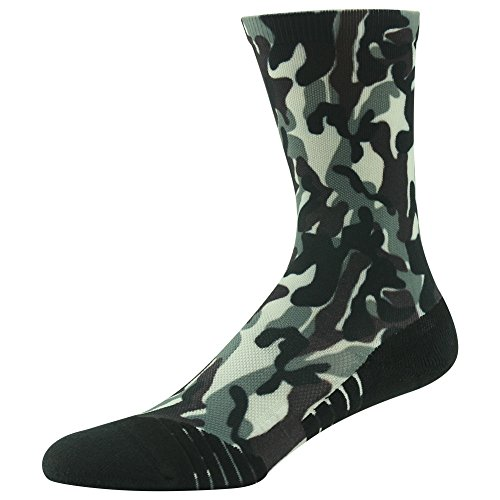 Lightweight Hiking Socks, HUSO Athletic Green Casual Reinforced Toe Wick Away Camo Print Anti-skid Mid Calf Socks for Men Women Teenager - Camouflage Toe Socks