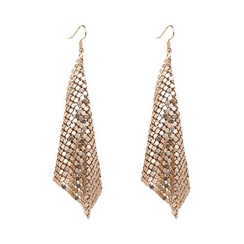 Lightweight Mesh Sequins Tassel Drop Dangle Earrings Long Hook Trendy Earrings for Women Girls (Gold) ()