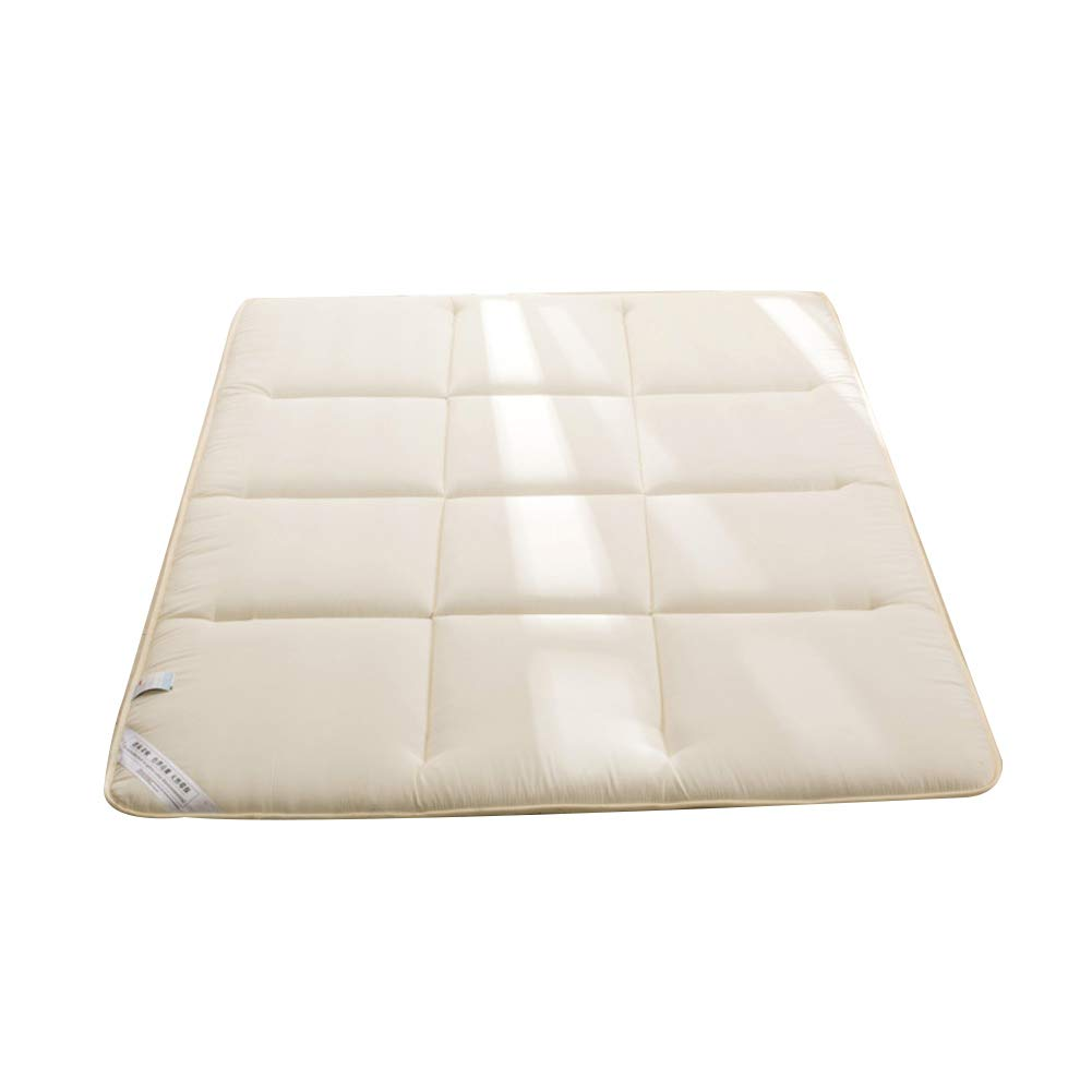 Beige 150x200cm JRMU Tatami Quilted Roll Up Futon Mattress Pad, 180x200cm(71x79in) Breathable Foldable Moisture Wicking Bed Mattress Floor Sleeping Mat Ergonomic Design T-4cm-bluee 180x200cm