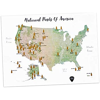 Amazon.com: Scratch Off United States Map – with US National Parks ...