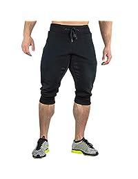 MECH-ENG Men's 3/4 Joggers Pants Workout Gym Capri Shorts Zipper Pockets