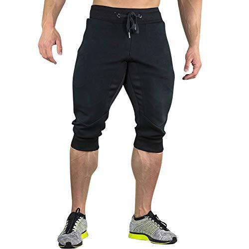 MECH-ENG Men's 3/4 Joggers Pants Workout Gym Capri Shorts Zipper Pockets(Black M/Tag XL)