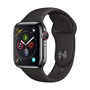 Apple Watch Series 4 (GPS + Cellular, 40mm) – Space Black Stainless Steel Case with Black Sport Band