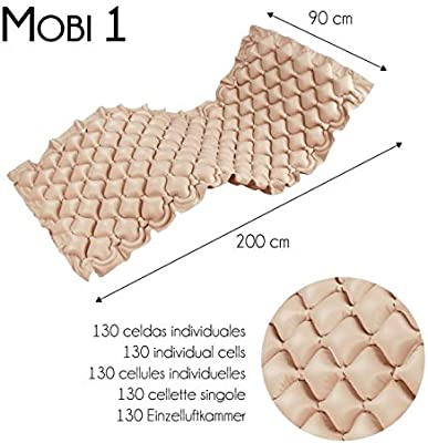 Mobiclinic, Colchón antiescaras de aire, Con compresor, PVC médico ignífugo, 200 x 90 x 7, 130 celdas, Beige, Mobi 1
