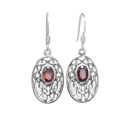 925 Sterling Silver Oval Celtic Knot Red Garnet Gemstone Dangle Earrings - Nickel Free (Sterling Oval Garnet Silver Earrings)