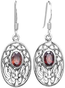 925 Sterling Silver Oval Celtic Knot Red Garnet Gemstone Dangle Earrings - Nickel Free