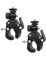 Kogelkop flitsschoen adapter statiefkop klem - 2 stuks articuleerd instelbare camera-klem standaard 1/4 inch schroefadapter voor camera's, flitslicht, statief, DV-monitor, LED-lampen.