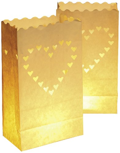 Wenko 8548100 Lichtertüte LUMINARIA Liebe groß - 10er Set, Windlicht, Pappe/Papier/Zellstoff, 15 x 26 x 9 cm, Weiß