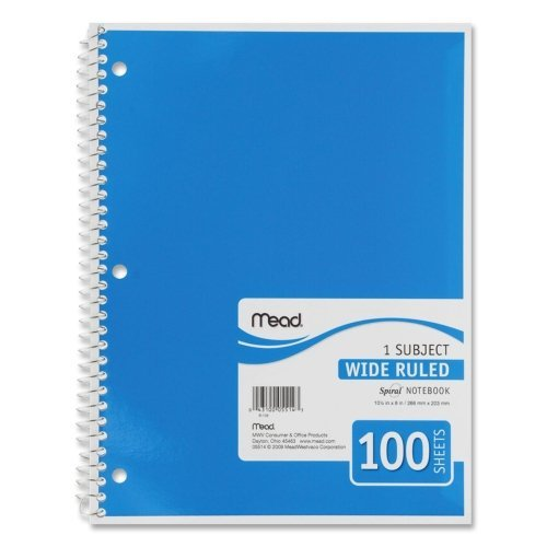 Wholesale CASE of 25 - Mead Spiral Bound Notebooks-Spiral Notebook,1-Subject,Wide Rule,100 Sh,10-1/2''x8'',Ast.