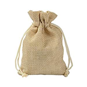 50Pcs 20x30CM Burlap Gift Bags Nylon Drawstring Pouches for Party Wedding Favors, Jewelry Sacks DIY Craft Christmas Bag,Beige