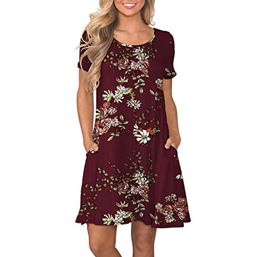 (Big Promotion T-Shirt Dress for Women Summer Short Sleeve Boho Floral Printed Pockets Sundress Casual Swing Dress)