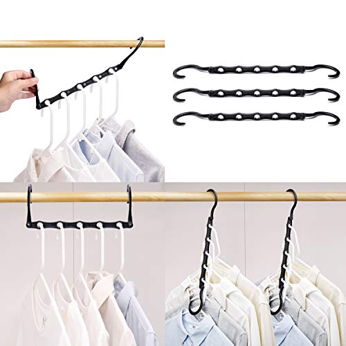 (HOUSE DAY Black Magic Hangers Space Saving Clothes Hangers Organizer Smart Closet Space Saver Pack of 10 with Sturdy Plastic for Heavy Clothes)