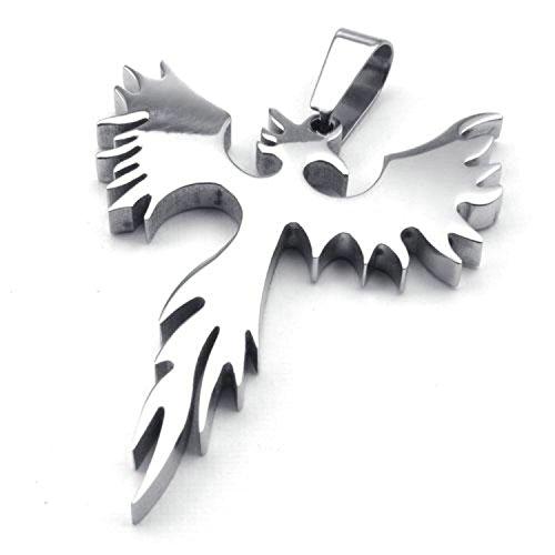 jonline24h Stainless Steel Phoenix Bird Firebird Pendant Biker Mens Necklace, 18-26 inch Chain(24 Inches) ()