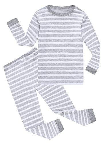 Family Feeling Striped Big Boys Long Sleeve Pajamas Sets 100% Cotton Pyjamas Kids Pjs Size 10 Grey White