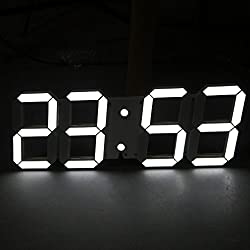 Nara Shopping Decorative Modern Digital Led Wall Clock Large Size (White)