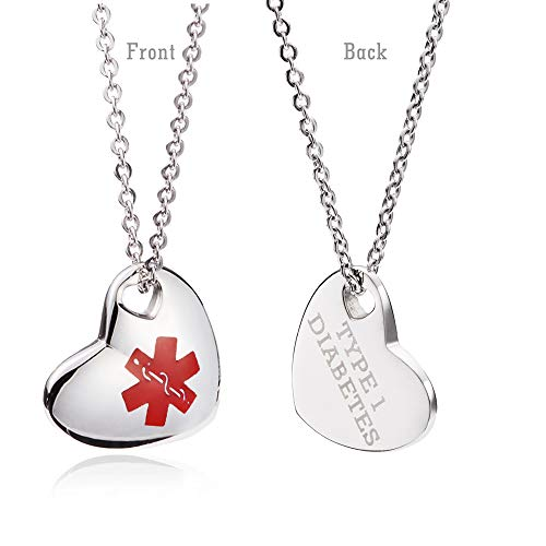 linnalove Stainless Steel Not Allergic Heart Charm Medical Alert id Necklace Charms for Women & Girl-with Diabetes Type 1 ()