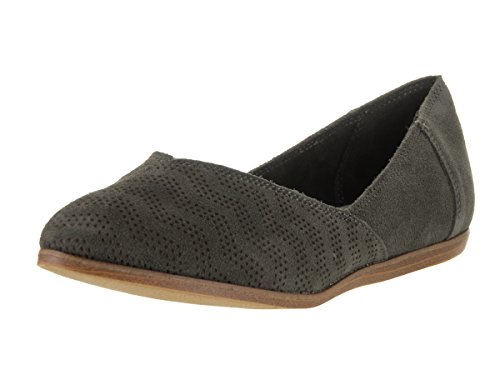 Toms Womens Jutti Flat Tarmac Olive Suede Chevron Embossed Casual Shoe 7.5 Women - Rogue Womens Flat