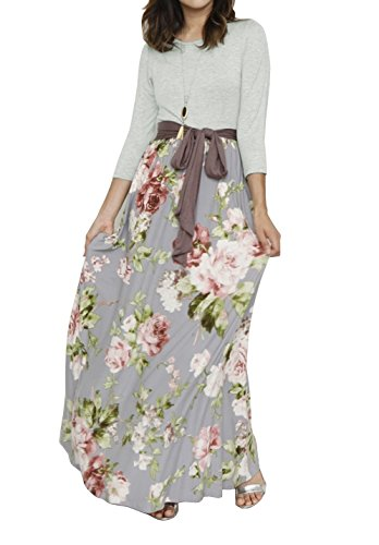 Ankle Length Dress - Valphsio Women 3/4 Sleeve Striped Floral Print Tie Waist Party Maxi Dress with Pockets