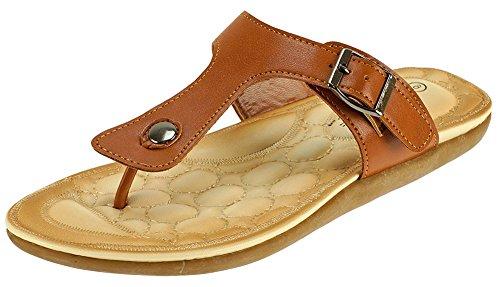 Cambridge Select Womens Slip-On Buckle Thong Flat Slide Sandal Brown 79pviyfR