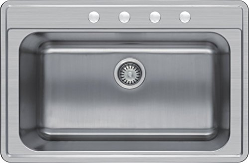 Winpro 33'x 22'x 8' Top Mount Single Bowl 304 Stainless Steel Kitchen Sink with 4 Faucet Holes