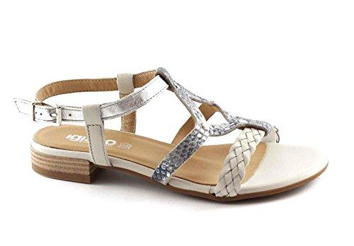 IGI & CO 78322 Perla zapatos de plata de las mujeres, sandalias de correa de cuero Argento