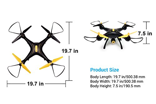 41ail2wP%2BlL - Tenergy Syma X8SW Wi-Fi FPV Quadcopter Drone 720P HD Camera Altitude Hold RC 2.4G 4CH 6 Axis, Black/Yellow