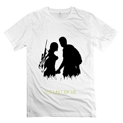 Fashion The Last Of Us Joel Ellie Escape Men's Tshirt White Size XXL