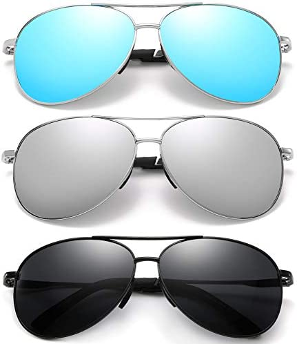 Polarized Aviator Sunglasses for Men and Women-UV400 Protection Mirrored Lens -Metal Frame with Spring Hinges
